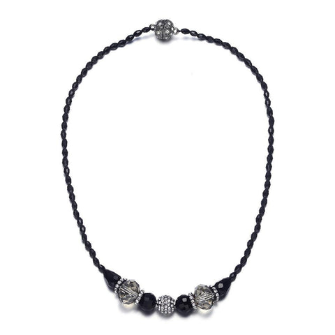 Miro: Shimmering Black Beads Singlestrand Necklace With Magna Clasp - Jewels to Jet