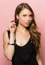 Miro: 5 Piece Shimmering Black Jewelry Set with Magna Clasp-Jewels to Jet-Magnetic Clasp Jewelry