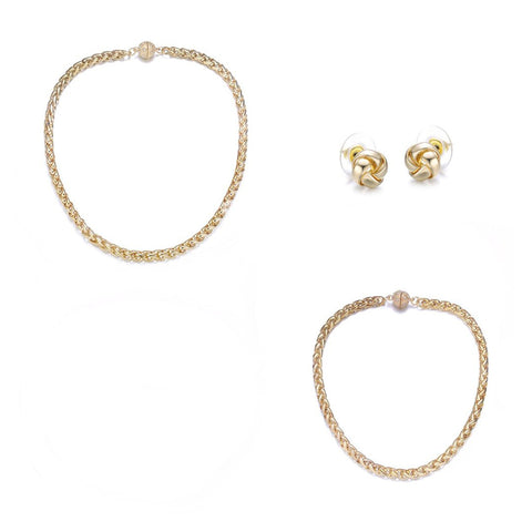 Monaco Gold: 4 Piece Jewelry Set by Jewels To Jet-Jewels to Jet-Magnetic Clasp Jewelry