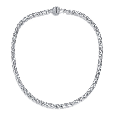 Monaco Silver Long Necklace by Jewels To Jet-Jewels to Jet-Magnetic Clasp Jewelry