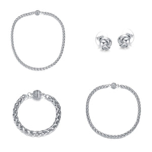 Monaco Silver: 4 Piece Jewelry Set by Jewels To Jet-Jewels to Jet-Magnetic Clasp Jewelry