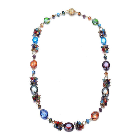 Monet: Colorful Long Necklace With Magna Clasp-Jewels to Jet-Magnetic Clasp Jewelry