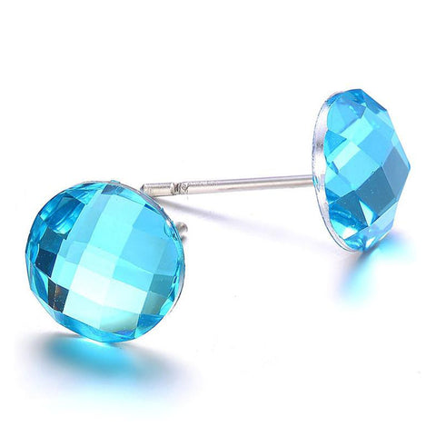 Monet: Blue Crystal Stud Earrings-Jewels to Jet-Magnetic Clasp Jewelry