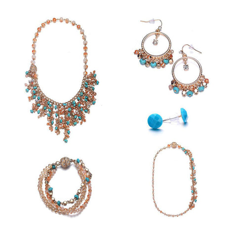 Montego: 5 Piece Bohemian Jewelry Set With Magna Clasp-Jewels to Jet-Magnetic Clasp Jewelry