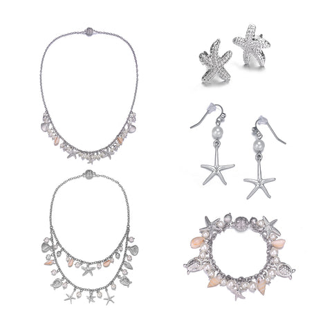 Seashore: 5 Piece Silver Jewelry Set With Magna Clasp-Jewels to Jet-Magnetic Clasp Jewelry