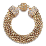 Kingston: Gold Braided Woven Bracelet-Jewels to Jet-Magnetic Clasp Jewelry