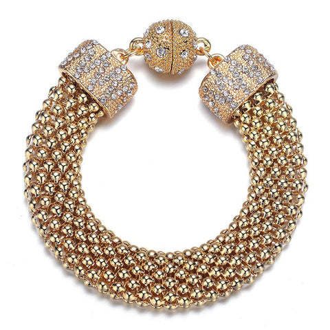 New Kingston: Gold Braided Woven Bracelet With Magna Clasp-Jewels to Jet-Magnetic Clasp Jewelry