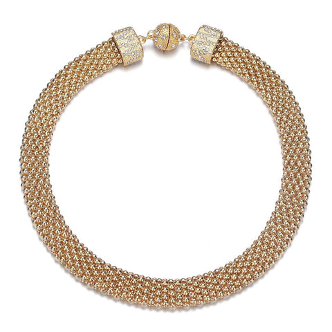 New Kingston: Gold Braided Short Necklace With Magna Clasp-Jewels to Jet-Magnetic Clasp Jewelry