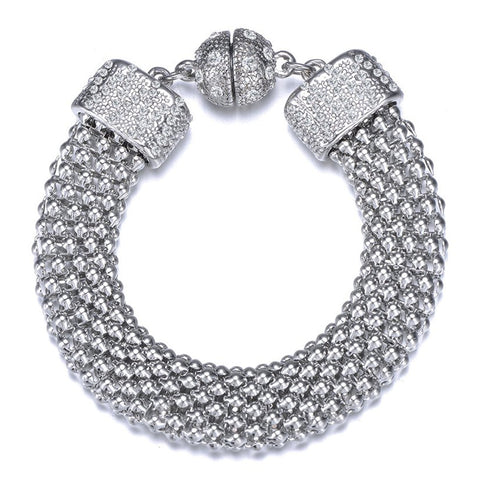 New Kingston: Silver Braided Woven Bracelet With Magna Clasp - Jewels to Jet