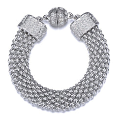 New Kingston: Silver Braided Woven Bracelet With Magna Clasp