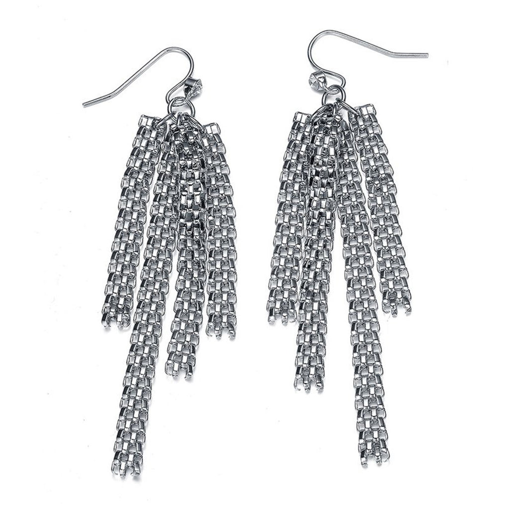 New Kingston: Silver Braided Strands Earrings-Jewels to Jet-Magnetic Clasp Jewelry