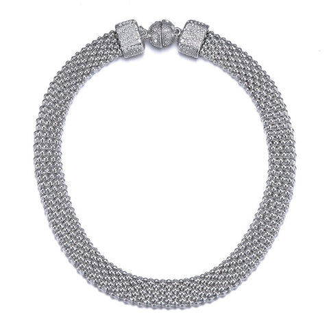 New Kingston: Silver Braided Short Necklace With Magna Clasp-Jewels to Jet-Magnetic Clasp Jewelry