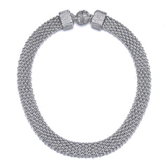 New Kingston: Silver Braided Short Necklace With Magna Clasp