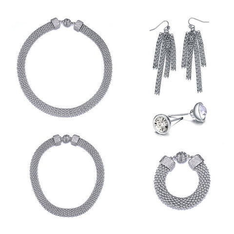 New Kingston: Silver 5 Piece Woven Jewelry Set With Magna Clasp-Jewels to Jet-Magnetic Clasp Jewelry