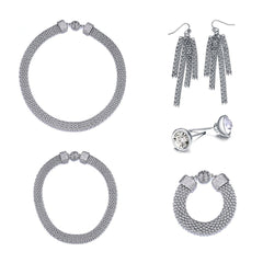 New Kingston: 5 Piece Woven Silver Jewelry Set With Magna Clasp