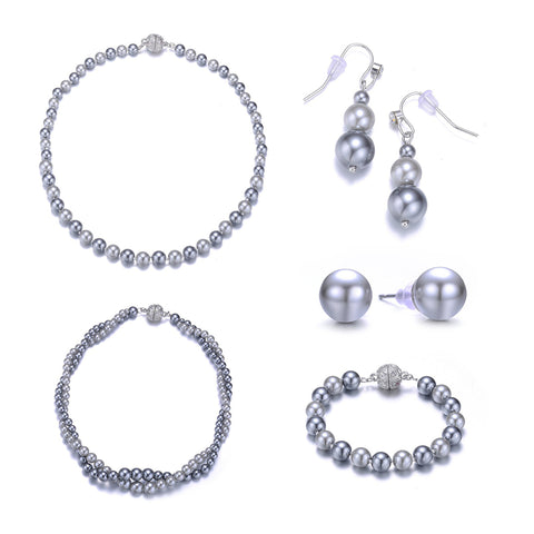 New Opera: 5 Piece Gray Pearl Jewelry Set With Magna Clasp-Jewels to Jet-Magnetic Clasp Jewelry