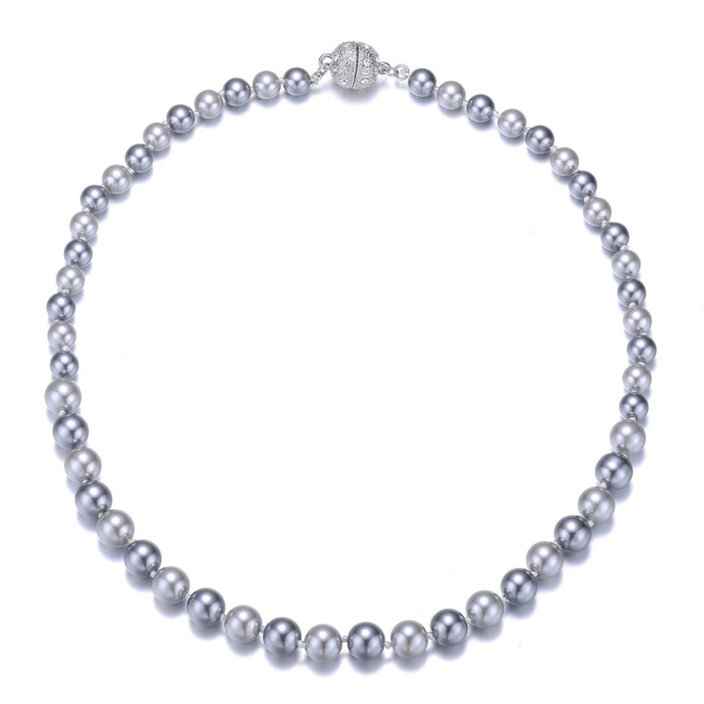 New Opera: Gray Pearl Single Strand Necklace-Jewels to Jet-Magnetic Clasp Jewelry