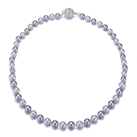 New Opera: Gray Pearl Single Strand Necklace With Magna Clasp-Jewels to Jet-Magnetic Clasp Jewelry