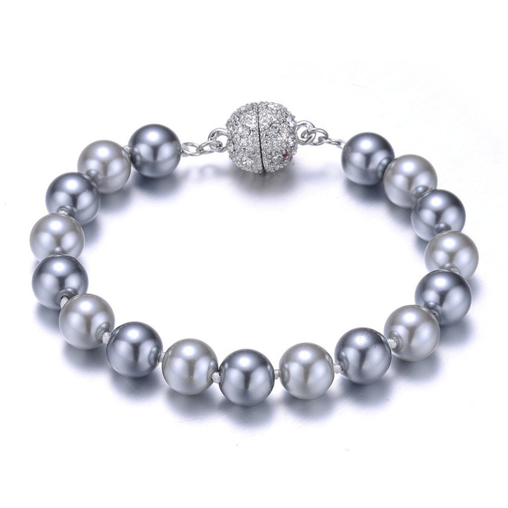 New Opera: Gray Pearl Bracelet With Magna Clasp-Jewels to Jet-Magnetic Clasp Jewelry