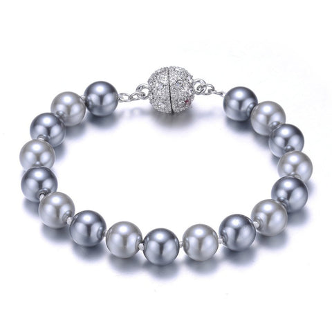 New Opera: Gray Pearl Bracelet With Magna Clasp - Jewels to Jet