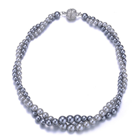 New Opera: Gray Pearl Doublestrand Necklace With Magna Clasp-Jewels to Jet-Magnetic Clasp Jewelry