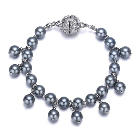 Opera: Gray Pearl Bracelet With Magna Clasp-Jewels to Jet-Magnetic Clasp Jewelry
