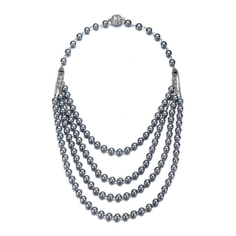 Opera: Gray Pearl Multistrand Necklace With Magna Clasp-Jewels to Jet-Magnetic Clasp Jewelry