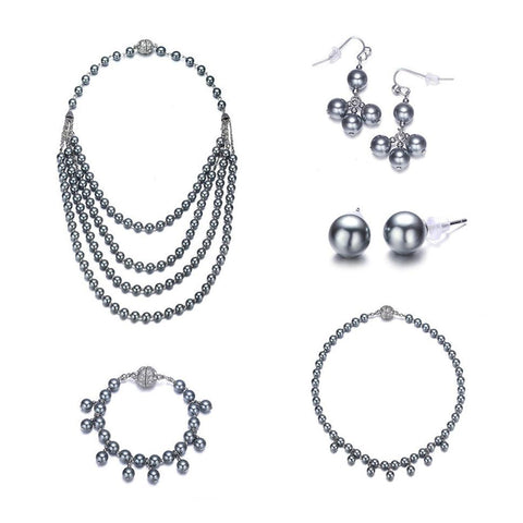 Opera: 5 Piece Gray Pearl Jewelry Set With Magna Clasp-Jewels to Jet-Magnetic Clasp Jewelry