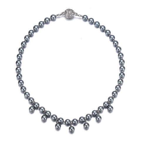 Opera: Gray Pearl Single Strand Necklace With Magna Clasp-Jewels to Jet-Magnetic Clasp Jewelry