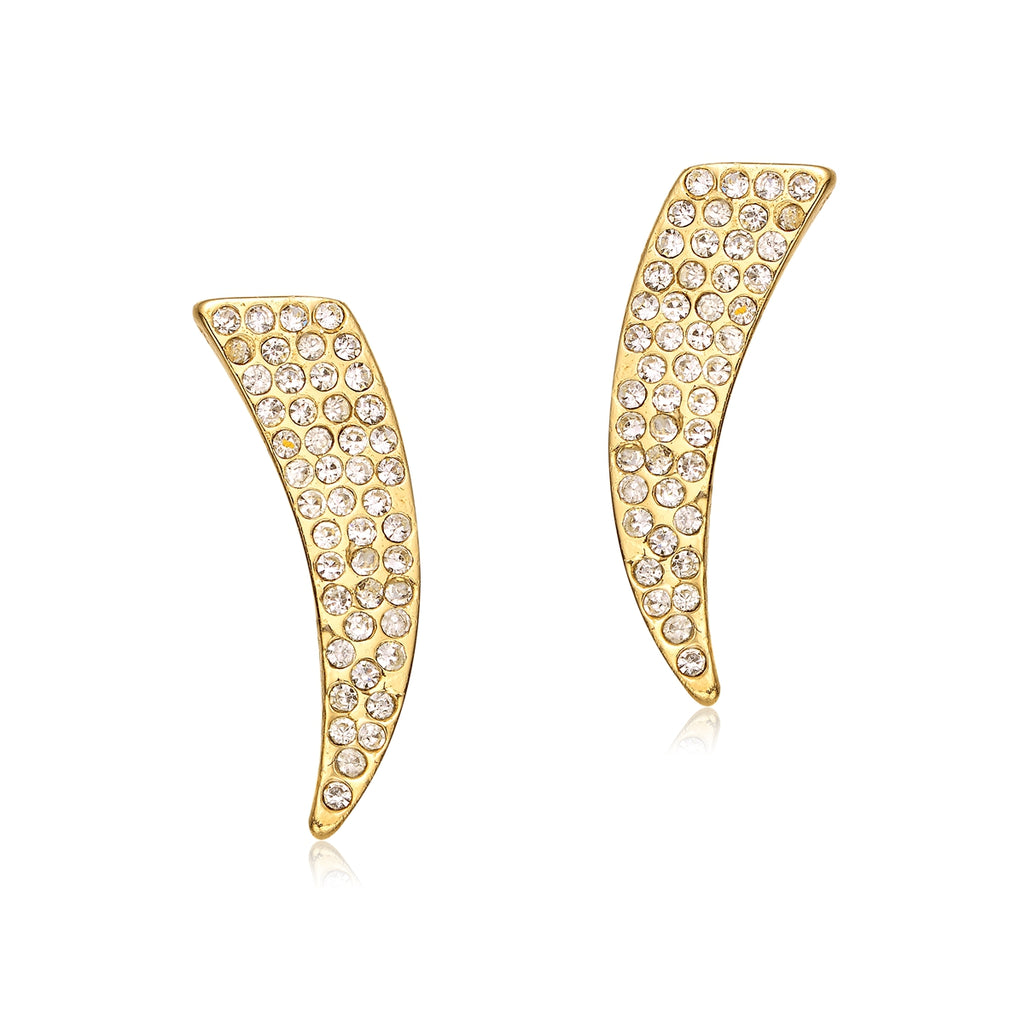 Pave: Diamond Trumpet Earrings in Silver or Gold-Jewels to Jet-Magnetic Clasp Jewelry