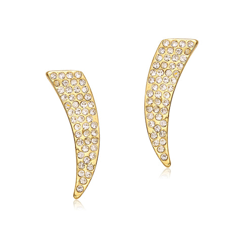 Pave: Diamond Trumpet Earrings Goldtone-Jewels to Jet-Magnetic Clasp Jewelry