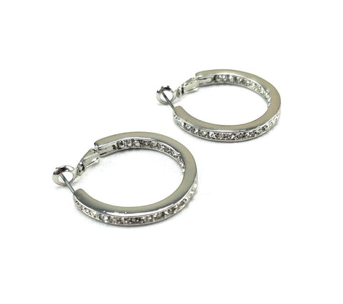 30mm Silver Pave Diamond Hoop Earrings By Jewels To Jet-Jewels to Jet-Magnetic Clasp Jewelry