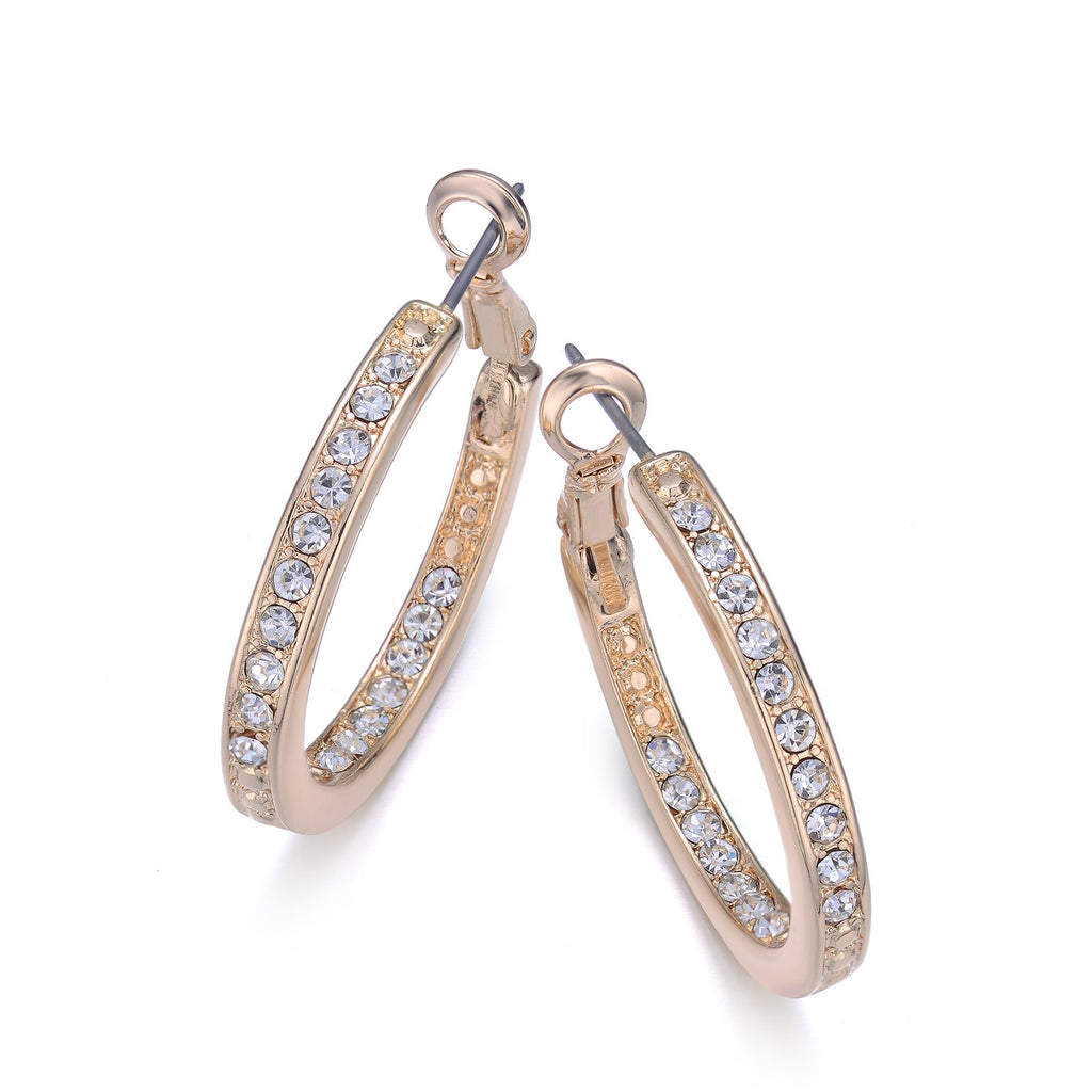30mm Gold Pave Diamond Hoop Earrings By Jewels To Jet-Jewels to Jet-Magnetic Clasp Jewelry