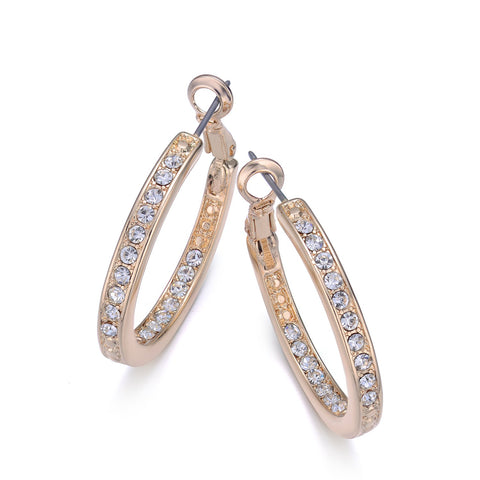 30mm Gold Pave Diamond Hoop Earrings By Jewels To Jet - Jewels to Jet
