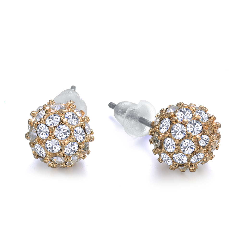 Diamond Ball Studs Gold 8mm by Jewels to Jet-Jewels to Jet-Magnetic Clasp Jewelry