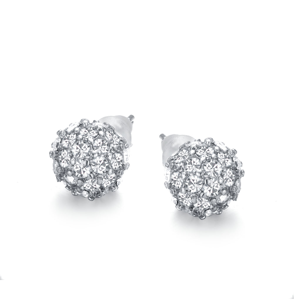Diamond Ball Studs Silver 8mm by Jewels to Jet-Jewels to Jet-Magnetic Clasp Jewelry