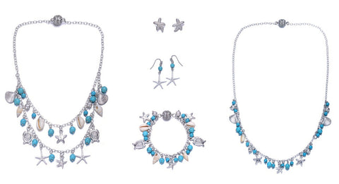 Seashore Silver and Turquoise 5 Piece Jewelry Set With Magna Clasp-Jewels to Jet-Magnetic Clasp Jewelry