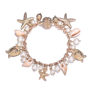 Seashore Bracelet: Silver or Gold-Jewels to Jet-Magnetic Clasp Jewelry