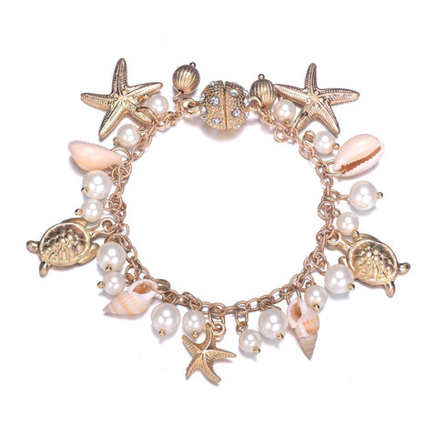 Seashore Gold Bracelet With Magna Clasp-Jewels to Jet-Magnetic Clasp Jewelry