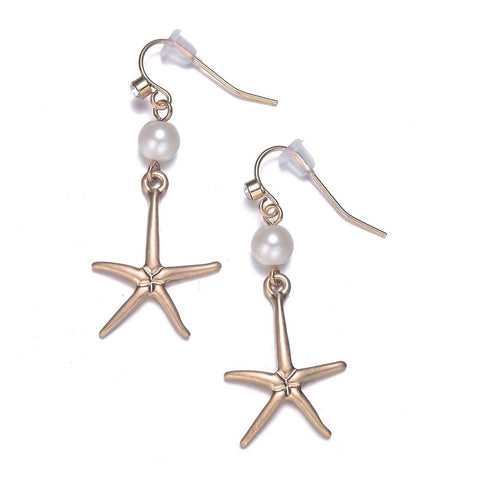 Seashore Gold Earrings-Jewels to Jet-Magnetic Clasp Jewelry