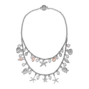 Seashore: Double-Strand Necklace in Silver or Gold - Jewels to Jet