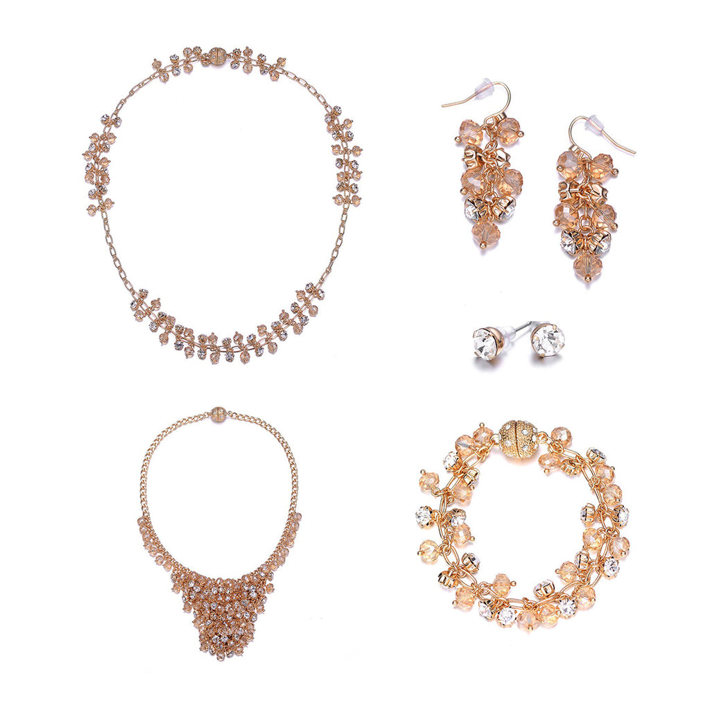 St. Tropez: 5 Piece Gold Set With Magna Clasp-Jewels to Jet-Magnetic Clasp Jewelry