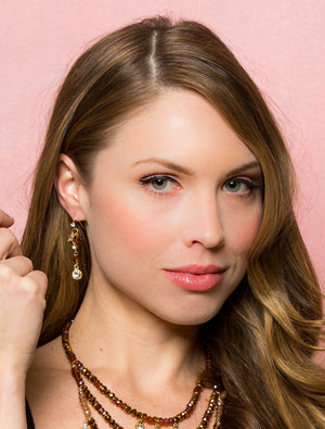 Lyric: Gold & Tan Earrings-Jewels to Jet-Magnetic Clasp Jewelry