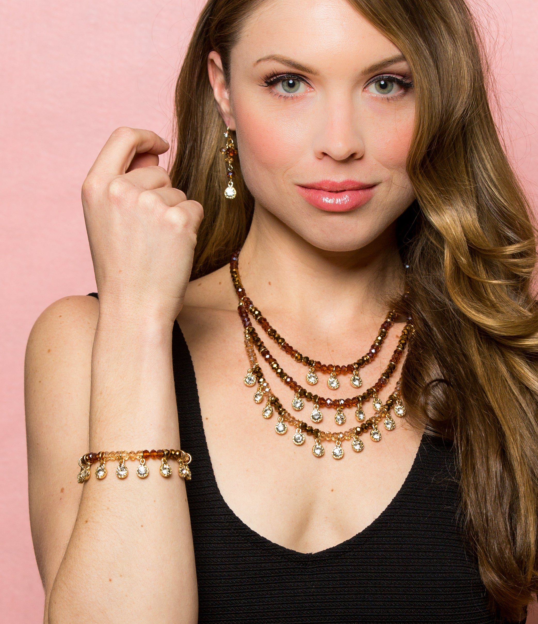 Lyric: Gold/Crystal Drops Multi-Strand Necklace-Jewels to Jet-Magnetic Clasp Jewelry
