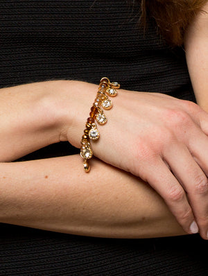 Lyric: Gold/Crystal Drops Bracelet-Jewels to Jet-Magnetic Clasp Jewelry