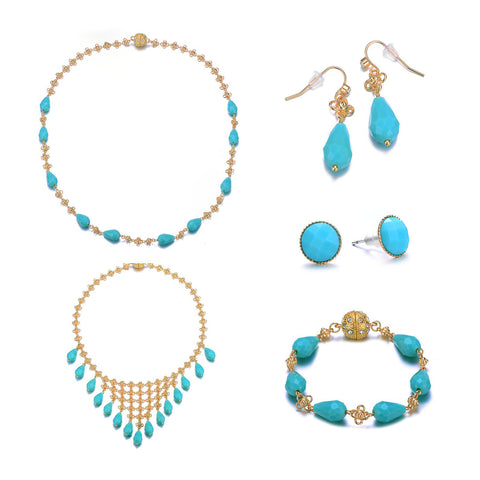 Amrita Sen Palace: Turquoise/Gold Full Set Jewelry Collection-Jewels to Jet-Magnetic Clasp Jewelry