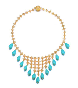Amrita Sen Palace: Bib Statement Necklace-Jewels to Jet-Magnetic Clasp Jewelry