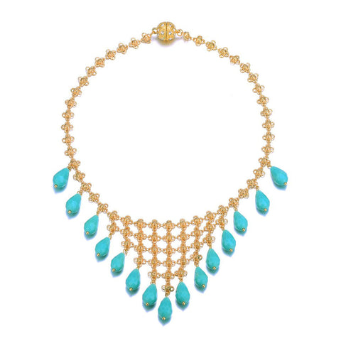 Amrita Sen MagnaClasp Palace: Bib Necklace-Jewels to Jet-Magnetic Clasp Jewelry