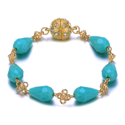 Amrita Sen Palace: Gold Turquoise Bracelet-Jewels to Jet-Magnetic Clasp Jewelry