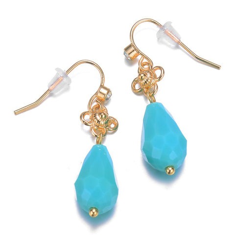 Amrita Sen Palace: Gold Turquoise Drop Earrings-Jewels to Jet-Magnetic Clasp Jewelry